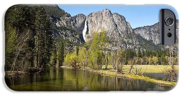 Yosemite National Park iPhone Cases - Merced River and Yosemite Falls iPhone Case by Jane Rix
