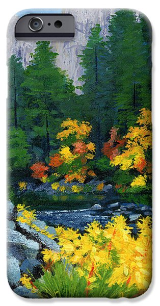 Yellow Leaves iPhone Cases - Merced River in Autumn iPhone Case by Alice Leggett