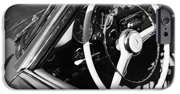 Antique Cars iPhone Cases - Mercedes-Benz 190SL Steering Wheel iPhone Case by Jill Reger