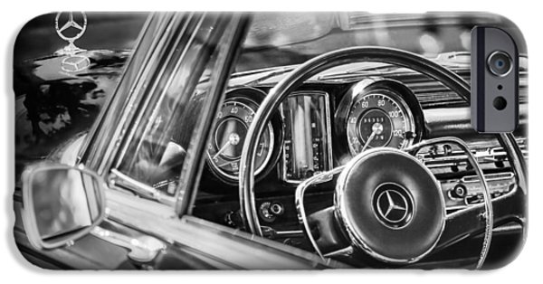 Classic Car Images iPhone Cases - Mercedes-Benz 250 SE Steering Wheel Emblem iPhone Case by Jill Reger