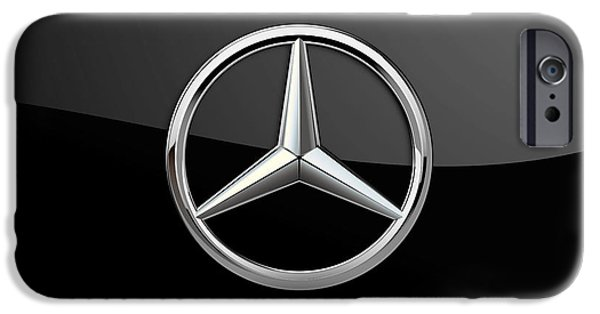 Sport Cars iPhone Cases - Mercedes-Benz 3D Badge-Logo on Black iPhone Case by Serge Averbukh