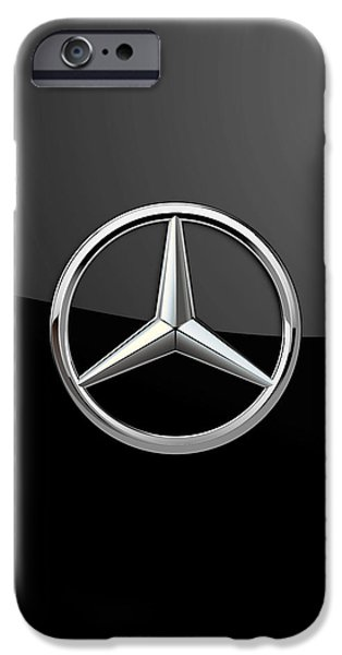 Automotive iPhone Cases - Mercedes-Benz - 3D Badge on Black iPhone Case by Serge Averbukh