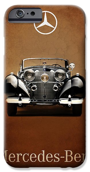 Antique Cars iPhone Cases - Mercedes Benz 540K iPhone Case by Mark Rogan