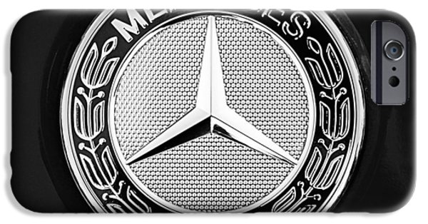 Sports Cars Images iPhone Cases - Mercedes-Benz 6.3 Gullwing Emblem iPhone Case by Jill Reger