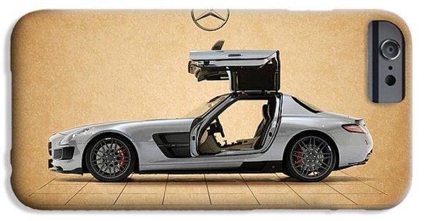Formula Car iPhone Cases - Mercedes Benz SLS iPhone Case by Mark Rogan