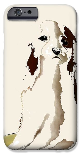 Puppy Digital Art iPhone Cases - Mercedes  - Our Cavalier King Charles Spaniel  No. 9 iPhone Case by Diane Strain
