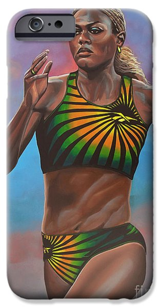 Celebrities Art Paintings iPhone Cases - Merlene Ottey iPhone Case by Paul  Meijering