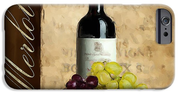 Wine Glasses Paintings iPhone Cases - Merlot III iPhone Case by Lourry Legarde