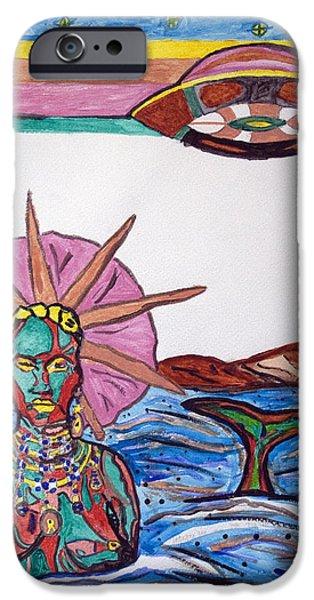 Santeria iPhone Cases - Yemoja Ufo  iPhone Case by Stormm Bradshaw