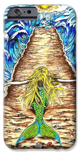 Pathway Drawings iPhone Cases - Mermaid iPhone Case by Karen Sirard
