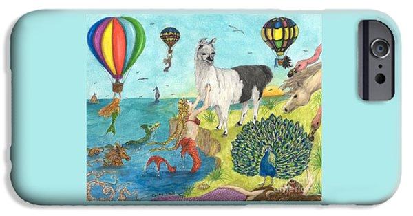 Recently Sold -  - Hot Air Balloon iPhone Cases - Mermaid Llama Peacock Hot Air Balloons Peek Art iPhone Case by Cathy Peek