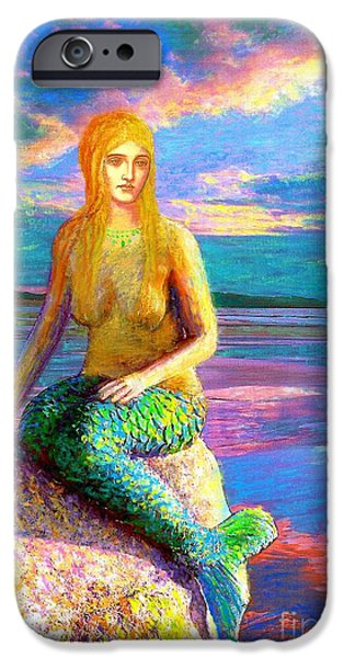 Sunset Paintings iPhone Cases - Mermaid Magic iPhone Case by Jane Small