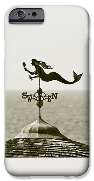 Mermaid Weathervane In Sepia iPhone Case by Ben and Raisa Gertsberg