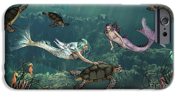 Reptiles Digital iPhone Cases - Mermaids At Turtle Springs iPhone Case by Methune Hively