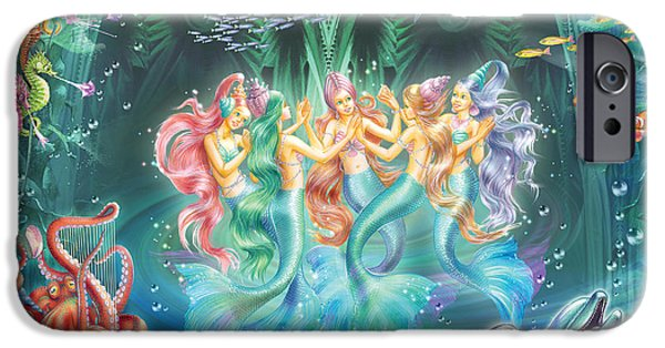 Sea Horse iPhone Cases - Mermaids Danicing iPhone Case by Zorina Baldescu