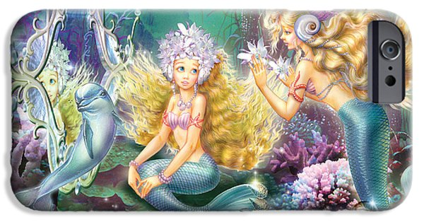 Marine iPhone Cases - Mermaids Mirror iPhone Case by Zorina Baldescu