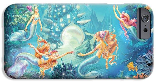 Marine iPhone Cases - Mermaids Place iPhone Case by Zorina Baldescu