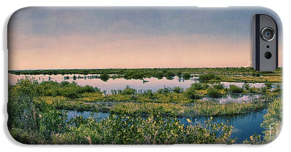Nature Center Pond iPhone Cases - Merritt Island National Wildlife Refuge Panorama iPhone Case by Anne Rodkin