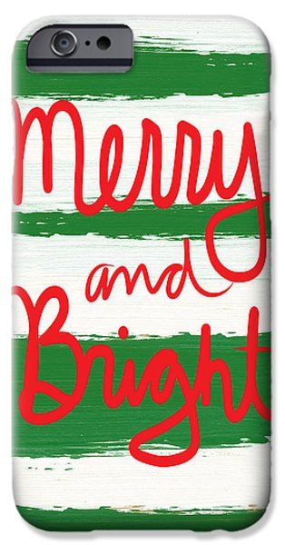 Santa iPhone Cases - Merry and Bright- Greeting Card iPhone Case by Linda Woods