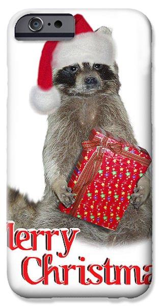 Raccoon Digital Art iPhone Cases - Merry Christmas -  Raccoon iPhone Case by Gravityx Designs