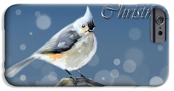 Tufted Titmouse iPhone Cases - Merry Christmas - Tufted Titmouse iPhone Case by Arie Van der Wijst