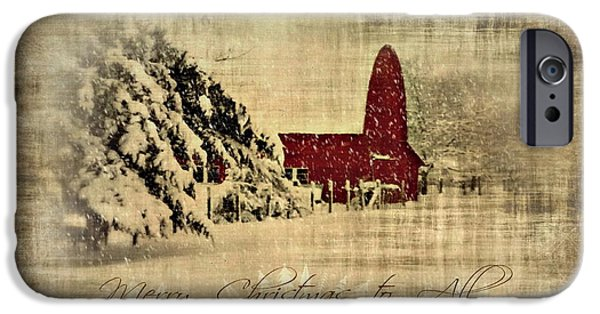 Winterscape iPhone Cases - Merry Christmas and Happy Holidays to all iPhone Case by Annie Lemay