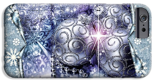Christmas Greeting iPhone Cases - Merry Christmas Blue iPhone Case by Mo T