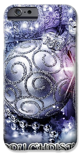 Merry Christmas Blue iPhone Case by Mo T