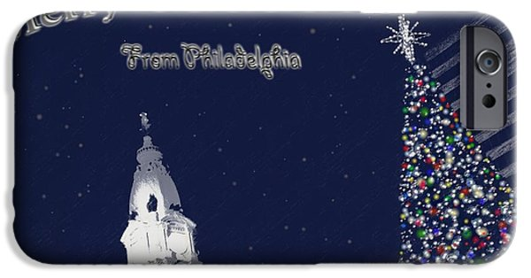 Snowy Night Digital iPhone Cases - Merry Christmas from Philly iPhone Case by Photographic Arts And Design Studio