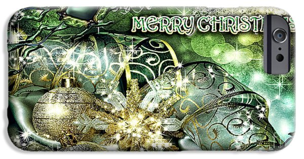 Christmas Greeting iPhone Cases - Merry Christmas Green iPhone Case by Mo T