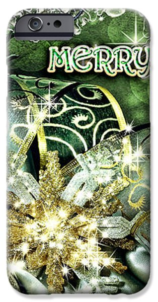 Merry Christmas Green iPhone Case by Mo T