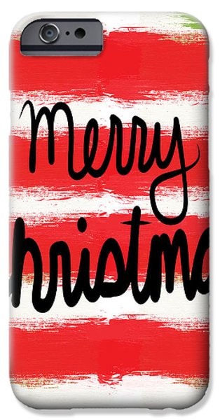 Christmas Mixed Media iPhone Cases - Merry Christmas- Greeting Card iPhone Case by Linda Woods