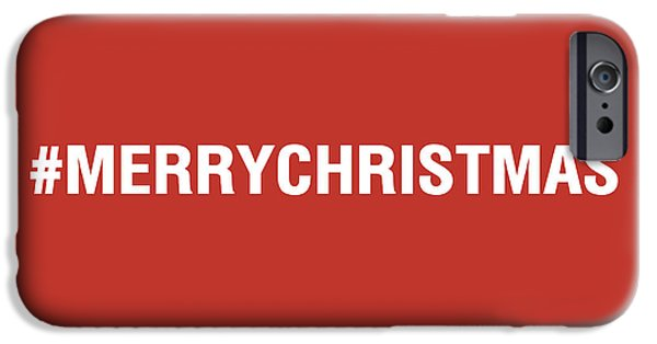 Santa iPhone Cases - Merry Christmas Hashtag iPhone Case by Linda Woods