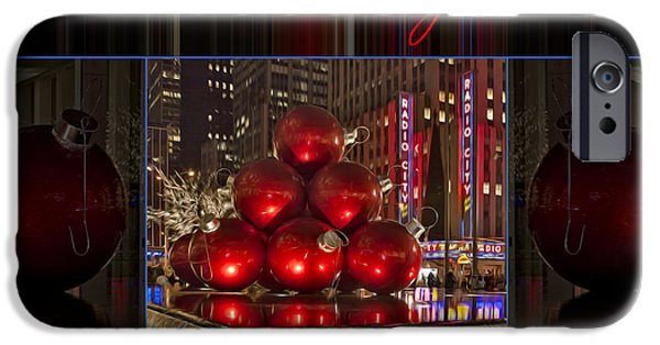 Christmas Holiday Scenery iPhone Cases - Merry Christmas NYC iPhone Case by Susan Candelario