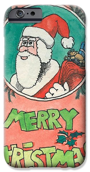 Christmas Eve Drawings iPhone Cases - Merry Christmas Santa iPhone Case by Ralf Schulze