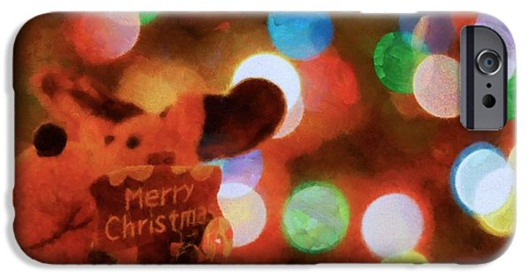 Christmas Eve iPhone Cases - Merry Christmas Sign And Lights iPhone Case by Dan Sproul