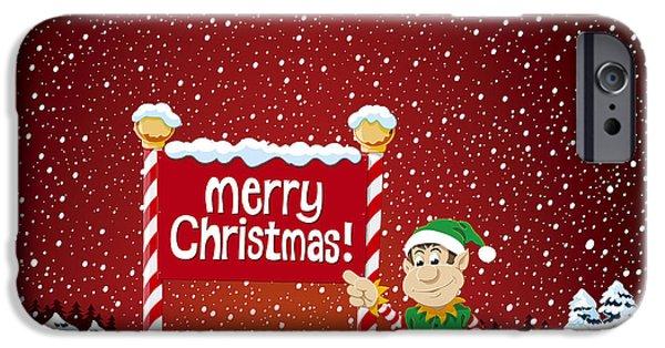Ramspott iPhone Cases - Merry Christmas Sign Christmas Elf Winter Landscape iPhone Case by Frank Ramspott