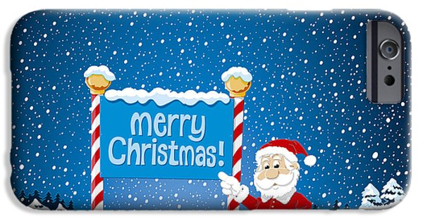 Santa iPhone Cases - Merry Christmas Sign Santa Claus Winter Landscape iPhone Case by Frank Ramspott