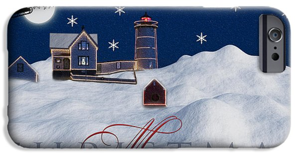 Maine iPhone Cases - Merry Christmas iPhone Case by Susan Candelario