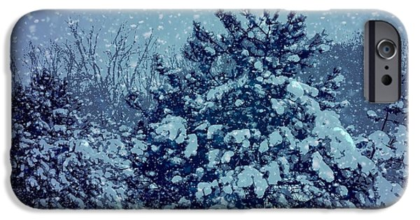 Snow Scene Mixed Media iPhone Cases - Merry Christmas Winter Scene iPhone Case by Dan Sproul