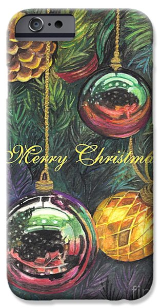 Christmas Greeting iPhone Cases - Merry Christmas Wishes iPhone Case by Carol Wisniewski