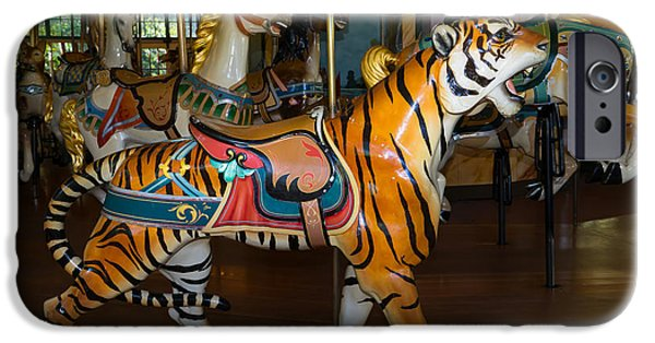 The Tiger iPhone Cases - Merry Go Around DSC2936 iPhone Case by Wingsdomain Art and Photography