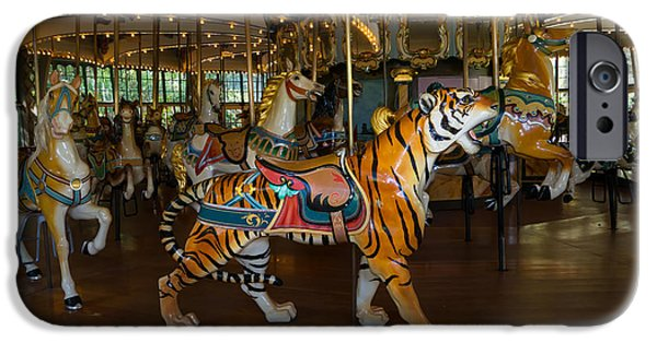 The Tiger iPhone Cases - Merry Go Around DSC2938 iPhone Case by Wingsdomain Art and Photography