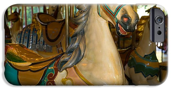 The Tiger iPhone Cases - Merry Go Around DSC2941 iPhone Case by Wingsdomain Art and Photography