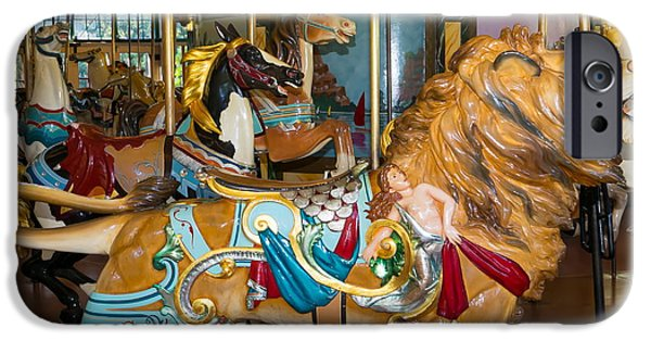 The Tiger iPhone Cases - Merry Go Around DSC2966 square iPhone Case by Wingsdomain Art and Photography