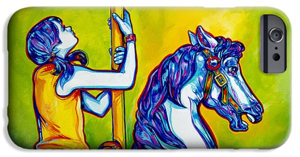Carousel Horse Paintings iPhone Cases - Merry-go-round iPhone Case by Derrick Higgins