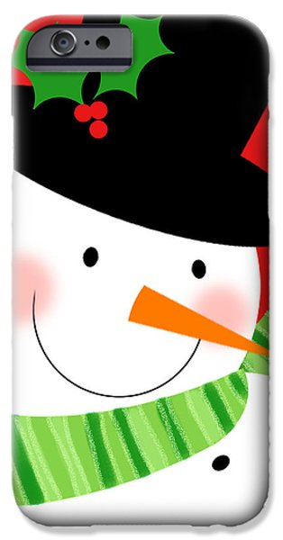 Christmas Greeting iPhone Cases - Merry Snowman iPhone Case by Valerie   Drake Lesiak
