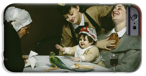 Interior Still Life iPhone Cases - Merrymakers iPhone Case by Charles Emile Auguste Carolus-Duran