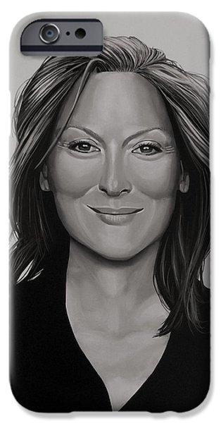 Celebrities Art iPhone Cases - Meryl Streep iPhone Case by Paul  Meijering