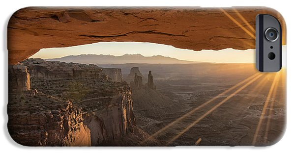 West iPhone Cases - Mesa Arch Sunrise 4 - Canyonlands National Park - Moab Utah iPhone Case by Brian Harig